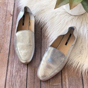 ZARA Silver Loafers